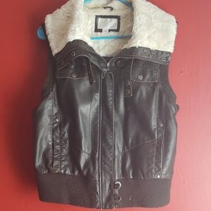 Leather faux fur jacket